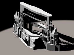 generative design of a multimedia stage in Milan, axonometric view