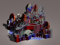 Generative project of a telematic Basilic in Milan, axonometric view